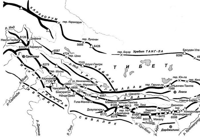 Карта Гималаи