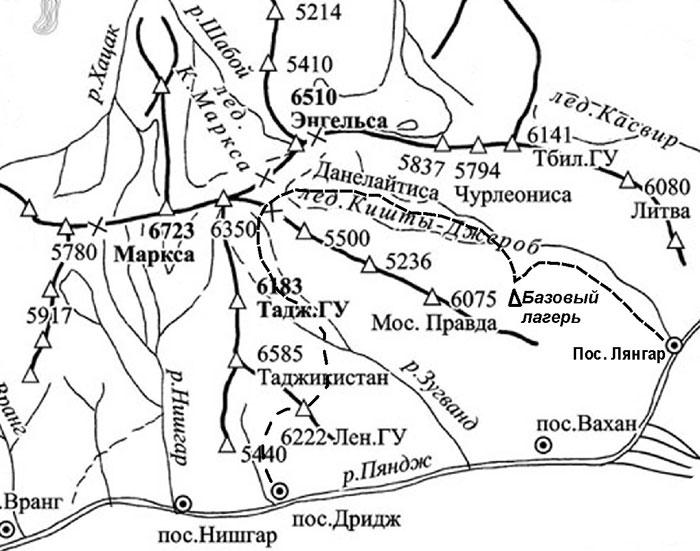 ПАМИР, Ю-З. Карта.