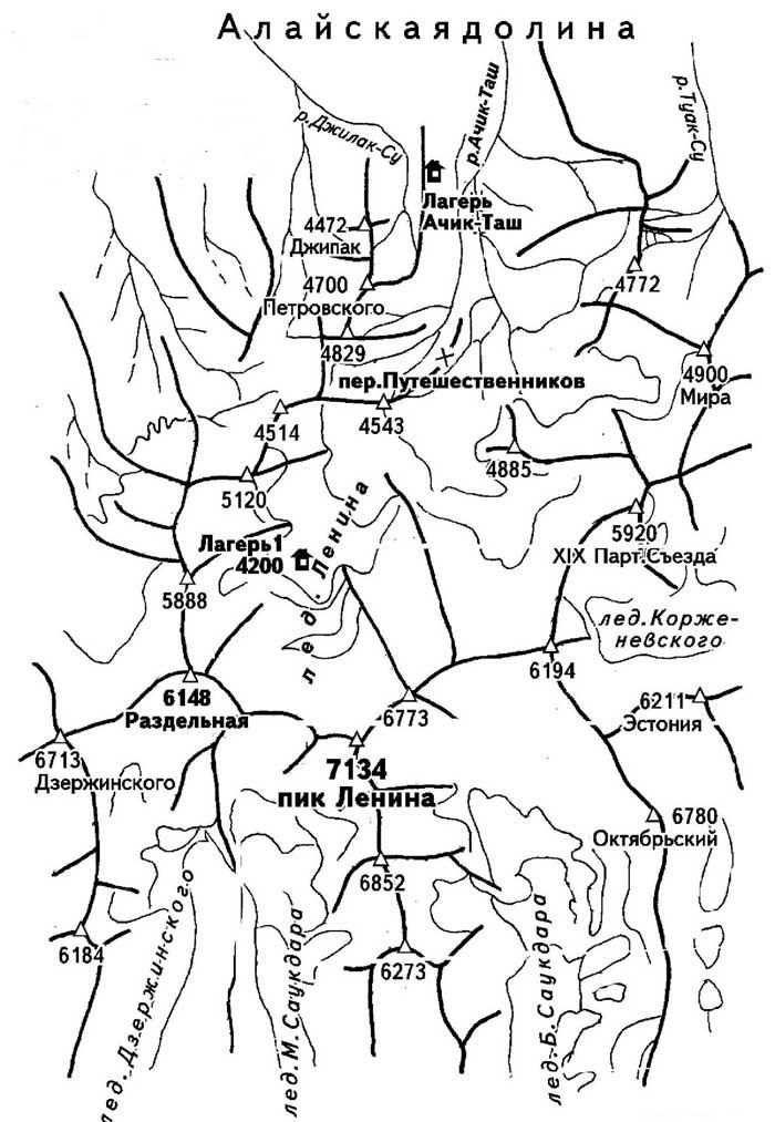Карта пика Ленина